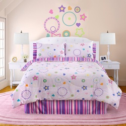 COOL KIDS ROOMS Veratex Bedding Collection Star Dance Glow in The Dark Comforter Set, Pink Multi