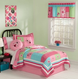 COOL KIDS ROOMS Pink & Aqua Ladybug Girls Cotton Twin Quilt, Sham & Sheets 5 Pcs