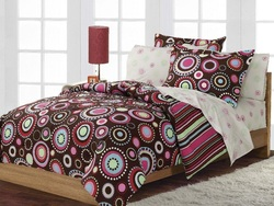 COOL KIDS ROOMS Teen Hippie Chic Pink Brown Bed in a Bag Twin 5 Pc