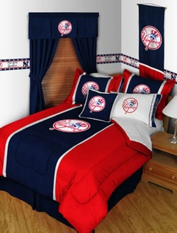 COOL KIDS ROOMS New York Yankees Baseball Team 5pc Twin Bedding Set