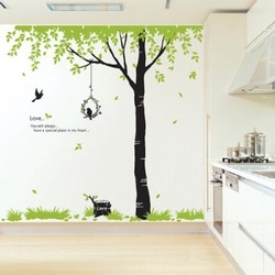 COOL KIDS ROOMS Flying Bird and Big Tree Wall Sticker Decal for Baby Nursery Kids Room