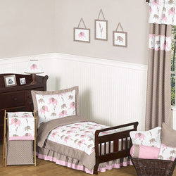 COOL KIDS ROOMS Sweet Jojo Designs Pink and Taupe Mod Elephant Toddler Bedding Collection