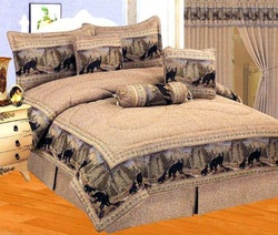COOL KIDS ROOMS Light Brown Jacquard Wild BEAR Comforter Set Cabin Bed-in-a-bag Queen Size 7 Pcs