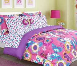 COOL KIDS ROOMS Beautiful Butterfly and Flower Print Girls/Teen Comforter Set (twin size)
