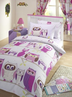 COOL KIDS ROOMS Reversible Double Duvet Quilt Cover  Set - Owl Hoot Lilac