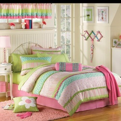 COOL KIDS ROOMS PINK AND GREEN RUFFLED TWIN COMFORTER SET - 10 PCS