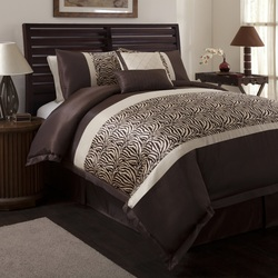 COOL KIDS ROOMS Lush Decor 6-Piece Zebra Comforter Set, Full-Size, Taupe/Brown