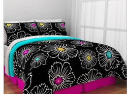 COOL KIDS ROOMS HOT PINK, TEAL AND BLACK COMFORTER SET