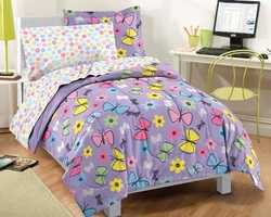 COOL KIDS ROOMS PURPLE SWEET BUTTERFLY COMFORTER SET 5 PC