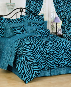 COOL KIDS ROOMS Zebra Blue Bed in a Bag Set Full 8 Pieces