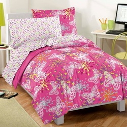 COOL KIDS ROOMS PINK BUTTERFLY COMFORTER SET 5 PC