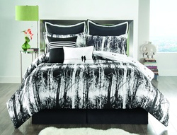 COOL KIDS ROOMS BLACK AND WHITE WOODLAND REVERSIBLE COMFORTER SET - 6PCS
