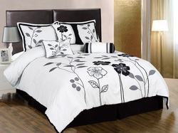 COOL KIDS ROOMS WHITE, GREY AND BLACK LILY AND LEAF 7PC COMFORTER SET