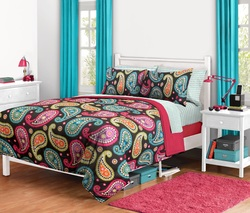 COOL KIDS ROOMS Paisley Bed in a Bag, Full, Bright Paisley 8 Pieces