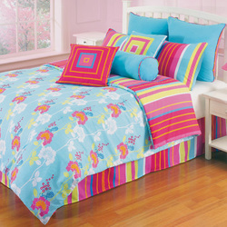 COOL KIDS ROOMS Pop Radiance Funky Flower Comforter Set 4 Pcs Full