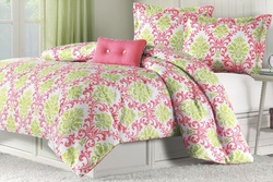 COOL KIDS ROOMS CORAL AND GREEN KATELYN COMFORTER SET
