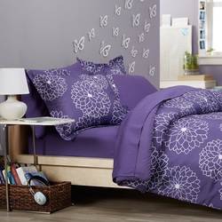 COOL KIDS ROOMS Pinzon Bed in a Bag, Purple Floral 7 Pcs