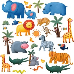 COOL KIDS ROOMS RoomMates Jungle Adventure Peel & Stick Wall Decals