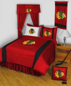 COOL KIDS ROOMS NHL Chicago Blackhawks Twin Bedding Set - 5pc Comforter Set