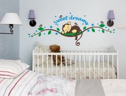 COOL KIDS ROOMS Sweet Dreams Monkeys and Tree Birds Giant Wall Sticker Decals