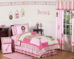 COOL KIDS ROOMS Pink and Green Girls Jungle Kids Bedding 4pc Twin Set