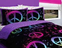 COOL KIDS ROOMS BLACK PURPLE PINK AND GREEN PEACE BEDDING FULL 7 PCS