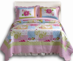 COOL KIDS ROOMS CLASSIC GIRLS QUILT BEDDING - FLORAL REVERSIBLE