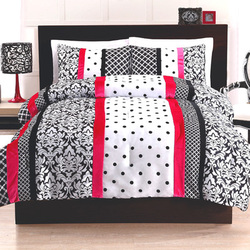 COOL KIDS ROOMS Cosmo Girl Black and Pink Dot Stripe Comforter Set 3 Pcs Full