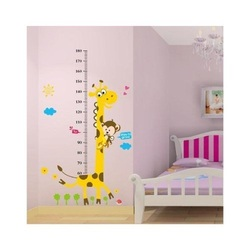 COOL KIDS ROOMS Naughty Monkey and Yellow Giraffe Wall Decal Cartoon Animals Height Chart (60cm-180cm)