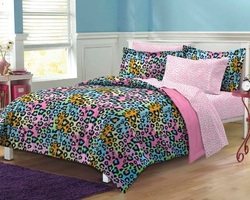 COOL KIDS ROOMS Neon Leopard Ultra Soft Microfiber Girls Twin 4 Piece Comforter Sheet Set