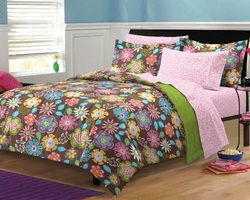 COOL KIDS ROOMS Flower Garden Girls Teen Bedding Comforter Set Twin 5 Pieces