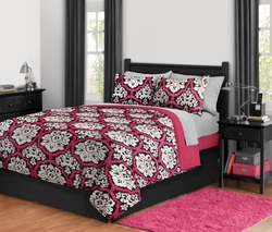 COOL KIDS ROOMS Damask Bed in a Bag, Full, Dotted Reversible Pink Black White