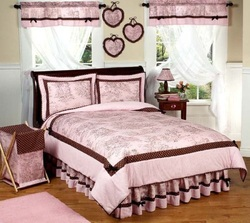 COOL KIDS ROOMS Pink and Brown French Toile and Polka Dot Girls Bedding 3pc Full / Queen Set