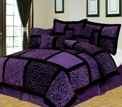 COOL KIDS ROOMS PURPLE AND BLACK SAFARI ZEBRA GIRAFFE BEDDING - QUEEN