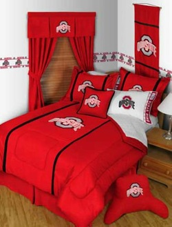 COOL KIDS ROOMS Ohio State Buckeyes 7PC Queen Comforter Bedding Set