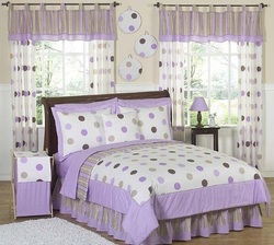 COOL KIDS ROOMS Purple and Brown Modern Dots Teen Bedding 3pc Full / Queen Set