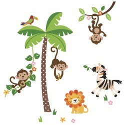 COOL KIDS ROOMS Jungle Monkeys, Lion, Zebra and Palm Tree Baby/Nursery Wall Stickers
