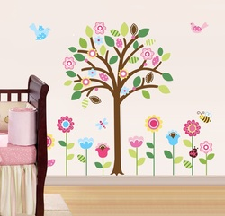COOL KIDS ROOMS Giant Spring Flower Garden & Tree Baby/Nursery Wall Sticker Decals