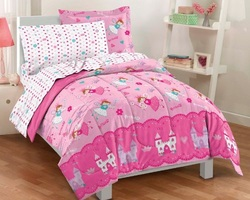 COOL KIDS ROOMS Magical Princess 5 Piece Twin Comforter Bedding Set, Pink