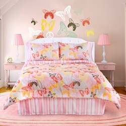 COOL KIDS ROOMS Veratex Bedding Collection Butterflies are Free Comforter Set, Pink/White