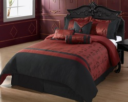COOL KIDS ROOMS Oyuki 7-Piece Comforter Set, Burgundy and Black