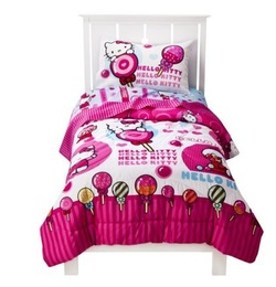 COOL KIDS ROOMS HELLO KITTY SWEET SCENTS COMFORTER SET - TWIN REVERSIBLE
