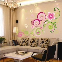 COOL KIDS ROOMS Heart Shaped Flower Vine Wall Sticker Décor Removable Art