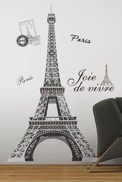 COOL KIDS ROOMS RoomMates Eiffel Tower Peel and Stick Giant Wall Decal