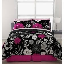 COOL KIDS ROOMS Pink White Black Flowered Teen Girls Full Comforter Sheet Bed In A Bag Set