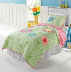 COOL KIDS ROOMS Green, White & Pink Polka Dots & Flowers 3 Pc Full Quilt & Shams Set