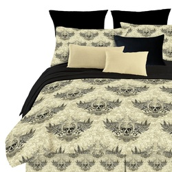 COOL KIDS ROOMS Winged Skulls Reversible Comforter 4 Piece Set