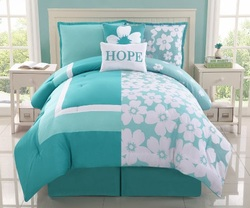 COOL KIDS ROOMS 5 Pc Aqua and White Reversible Floral Comforter Set, Bed in a Bag, Twin