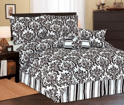 COOL KIDS ROOMS BLACK AND WHITE FLORAL PRINT COMFORTER SET - 5PCS TWIN