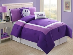 COOL KIDS ROOMS MODERN PURPLE AND WHITE TWIN COMFORTER SET